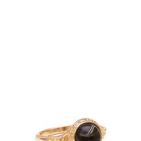 FOREVER 21 Boho Faux Stone Ring Gold/Black 6