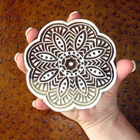 Flower Stamp: Hand Carved Wood Stamp, Round Scalloped Circle Wooden Printing Block from India