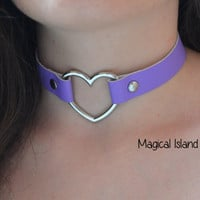 Pastel Pink And Pastel Purple Fake Leather Heart Choker, Lolita Fake Leather Heart Choker, Pastel Goth, Kitten Play, Alternative