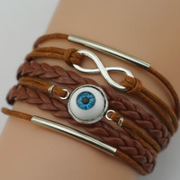 Antiqued Silver Evil Eye Bracelet, Eye Ball Bracelet, Infinity Bracelet, Silver Tubes, Brown Braid, Bridesmaid Gift, Friendship Christmas