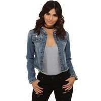 Denim Studs And Fray Cropped Jacket