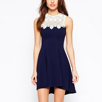 Navy Lace Sleeveless Halter Dress