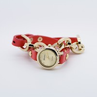 Faux leather chain watch (4 colors)