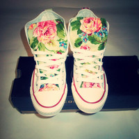 NEW YEARS SALE!!! Spring Floral Converse Shoes