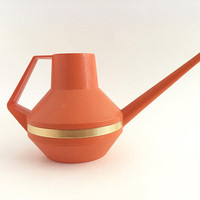 Mid Century Watering Can Orange Plastic Garden Tool