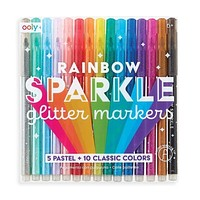 Rainbow Sparkle Glitter Markers - Set of 15 [Ooly]