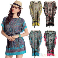 Fashion Over-sized Retro Paisley Print Boho Hippie's Summer Casual Sun dress Beach Cover ups
