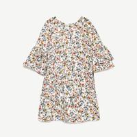 FLORAL PRINT DRESS WITH FRILLED SLEEVES DETAILS