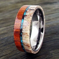 Men's Natural Tungsten Turquoise, Antler, Sandalwood Ring