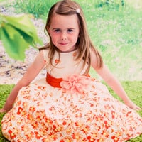 Orange Floral Daisy Print on an off White Cotton Dress with Satin Sash (Girls Sizes 2T - 12)