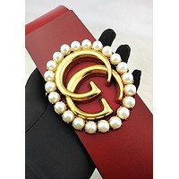 GG LV Louis vuitton G chic ladies casual pearl gold buckle hot selling large Red belt