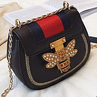 New fashion stripe pearl diamond bee leather chain shoulder bag crossbody bag