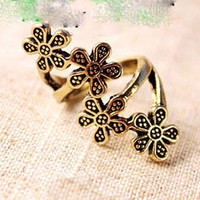 retro flower charms ring
