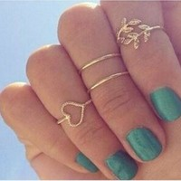 R250 cheap jewelry 4pcs/set gold crystal love heart rings femme stacking charm leaf midi knuckle ring set for women anel anillos
