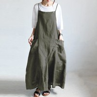 2019 Summer ZANZEA Women Strappy Solid Baggy Dress Long Maxi Overalls Dress Casual Loose Party Sarafans Vestido Robe Plus Size