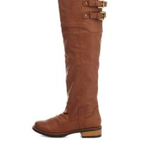 Qupid Lug Sole Knee-High Riding Boots by Charlotte Russe - Cognac