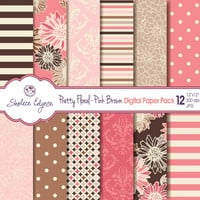 Pretty Floral Digital Paper Pack, Pink & Brown, 12x12 Instant Download