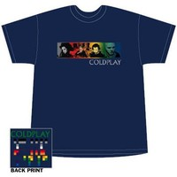 Coldplay - Color Stripe Adult T-shirt in Navy