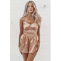 Center Of The Stage Satin Romper