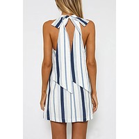Fashion Multicolor Stripe Halter Strappy Sleeveless Mini Dress