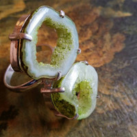 """Druzy Ring  Double Stone Ring 925 Silver Ring Green Ring Gemstone Ring Size 10 Ethnic Ring  Metal Ring Fossil Ring """"2015 SALE"""" Free Shipping"""