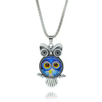 Blue Owl Pendant Necklace in Sterling Silver