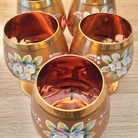 Vintage Old World Czechoslovakia gold leaf rose gold glass set with decanter