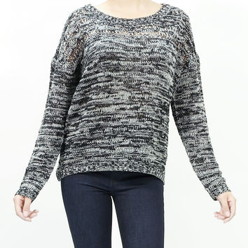 Black and white two tone loose knit sweater top