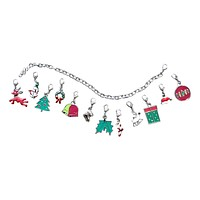 Christmas/Winter Themed Bracelet-12 Interchangeable Charms-7 Inch-For Any Outfit