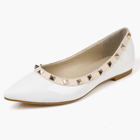 Pointed Toe PU Leather Yellow Flats