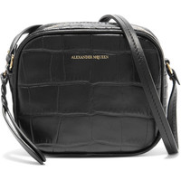 Alexander McQueen - Croc-effect leather camera bag