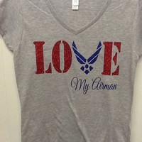 Military Air Force Wife Girlfriend fitted v-neck t