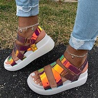 New style colorful color changing women's sandals thick-soled casual beach large size women's shoes