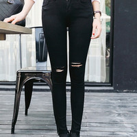 Womens Fashion Black Cut-out Punk Ripped Women Jeans Jeggings Trousers pants
