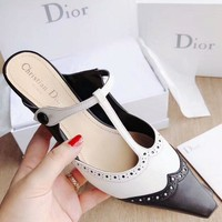 Dior 2018 new stiletto women's shoes hollow single shoes pointed high-heeled slippers F-RCSTXC