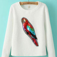 Embossing Colored Parrot Sequins Sweatshirts