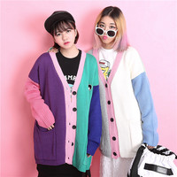Fashion students colorful stitching sweater coat
