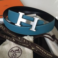 Unisex Designer Hermès Belt Kit Silver H Buckle Blue Togo Black 32mm sz 100