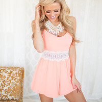 Woven Shorts Romper with Lace Detailed Waist