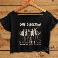One Direction Shirt 1D Crop Top Women Crop Tee Where We Are Tour 2014 tshirt OD01JG