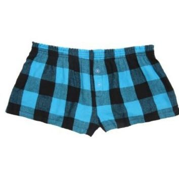 Electric Blue and Black Big Check Novelty Print Flannel Boxer Shorts