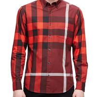 Exploded Check Long-Sleeve Shirt, Red, Size: