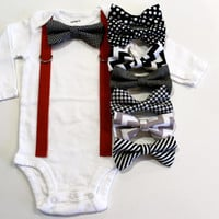 Baby or Toddler Valentine's Day Shirt. Black Gray Red. Bow Tie and Suspenders. Baby Boy Outfit.