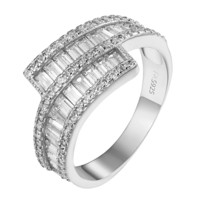 Womens Sterling Silver 925 Wedding Ring Baguette Simulated Diamond Unique Bridal