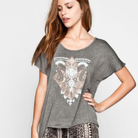 Full Tilt Boho Junkyard Womens Tee Charcoal  In Sizes