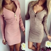 Skinny Package Hip Screw V-Neck Zipper Chest Long-Sleeve Dress