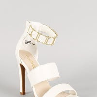 Anne Michelle Leatherette Ankle Cuff Open Toe Heel Color: White, Size: 8