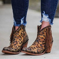 Genuine Leather Suede Ankle Boots Leopard Tassel Side Zip Women's Boots High Heel Short Boots Party Shoes