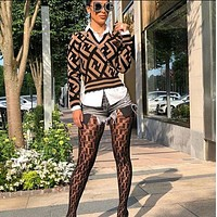 Fendi Autumn Winter Trend Women's Long-sleeved Sweater Or Stockings