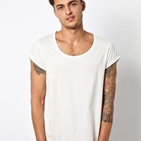ASOS T-Shirt With Bound Scoop Neck And Roll Sleeve - Off white